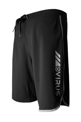 VIRUS AIRFLEX 4-WAY STRETCH TRAINING SHORTS - BLACK WITH SILVER - MMAoutfit - 1