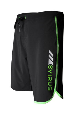 VIRUS AIRFLEX 4-WAY STRETCH TRAINING SHORTS - BLACK WITH NEON GREEN - MMAoutfit - 1