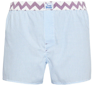 Kiss Me - blue checkered Boxer Short - True Boxers