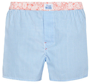 Mr Happy - blue checkered Boxer Short - True Boxers