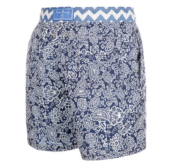 Blue Hawaii - dark blue paisley Swim Short - True Boxers