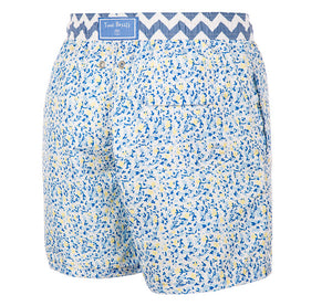 Shine Bright - blue yellow floral pattern Swim Short - True Boxers