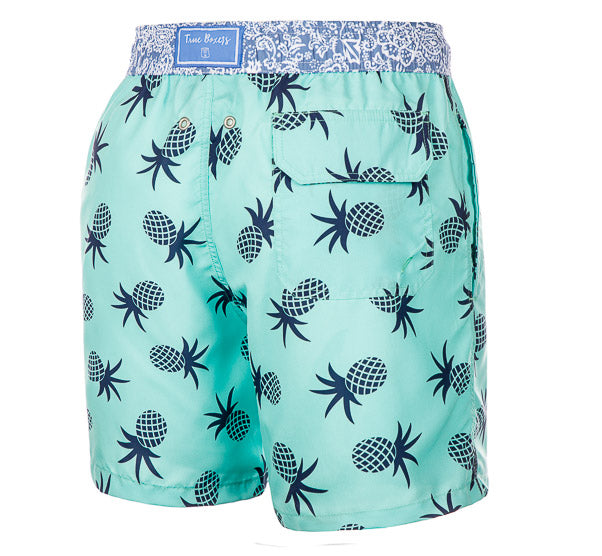 Pine Flip - turquoise Swim Short with blue pineapples - True Boxers