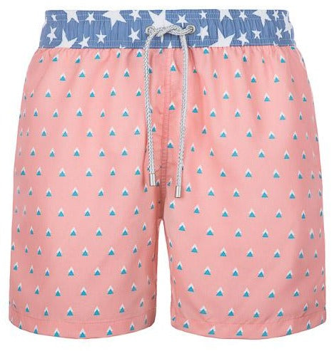 Polaroid - salmon colored Swim Short with triangles - True Boxers