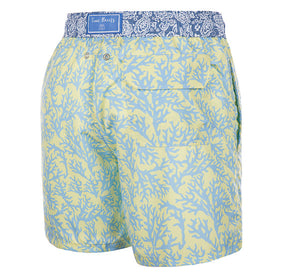Lemon Drop - yellow colored Swim Short with corals - True Boxers