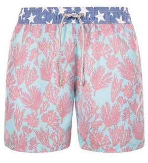 Coral Fizz - light blue colored Swim Short with corals - True Boxers