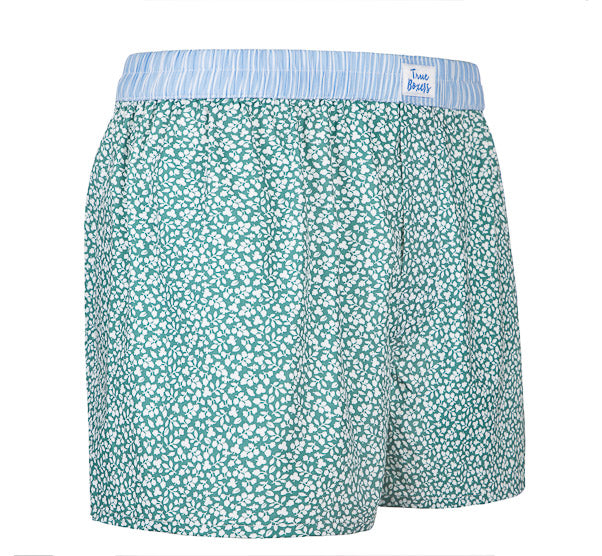 Evergreen - green Boxer Short with floral pattern - True Boxers