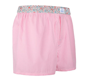 Aloha - pink checked, floral pattern Boxer Short - True Boxers