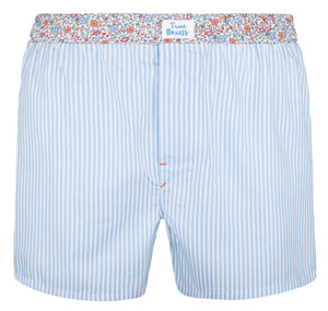 Cloud Dancer - blue stripes, floral pattern Boxer Short - True Boxers