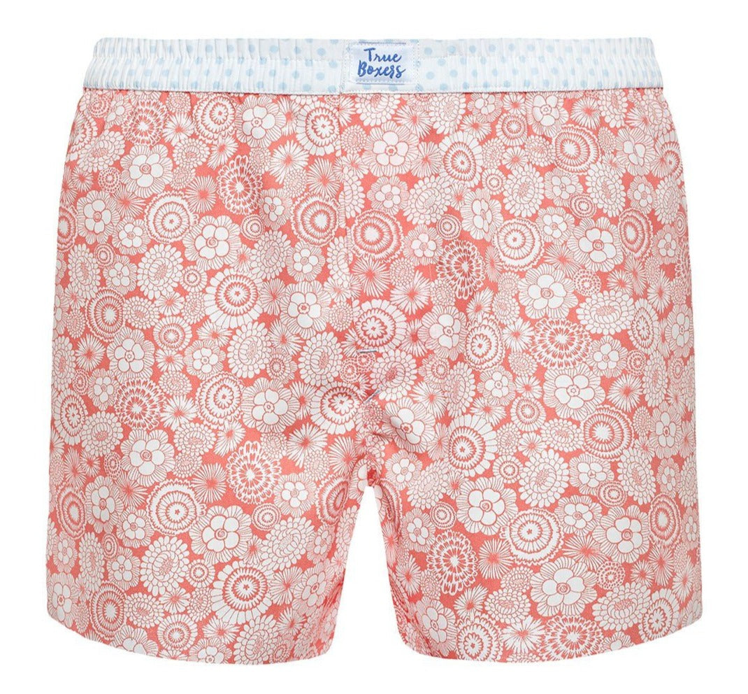Get Lucky - orange floral pattern Boxer Short - True Boxers