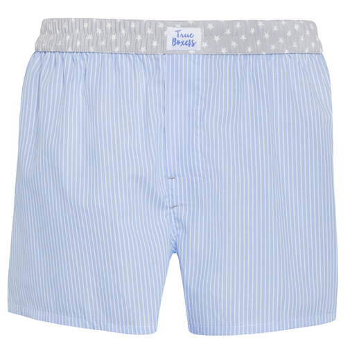 Midnight Stories - blue stripes gray stars Boxer Short - True Boxers