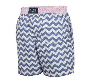 Double Trouble - blue zig zag pattern Swim Short - True Boxers