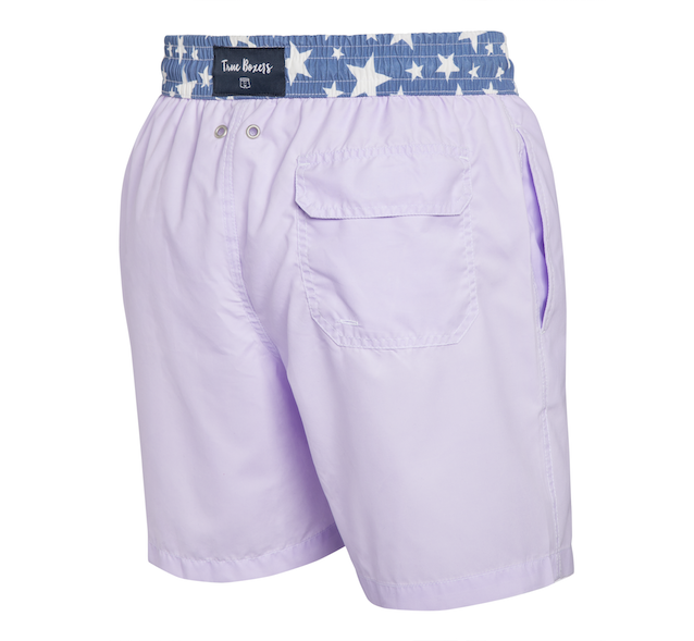 Cotton Candy - lilac with stars Swim Short - True Boxers