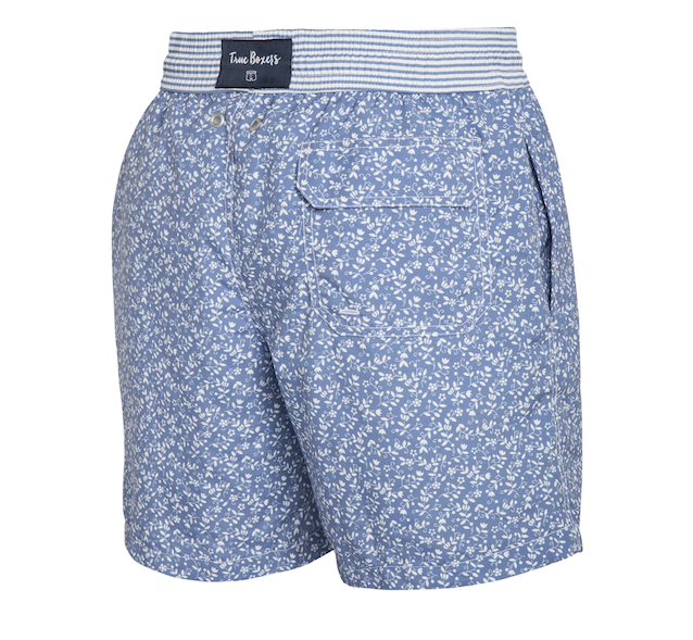 Sweet Escape - blue floral pattern Swim Short - True Boxers