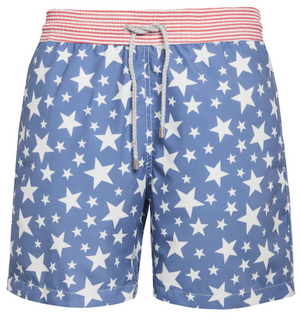 Maybe Baby - red stripes with blue stars Swim Short - True Boxers