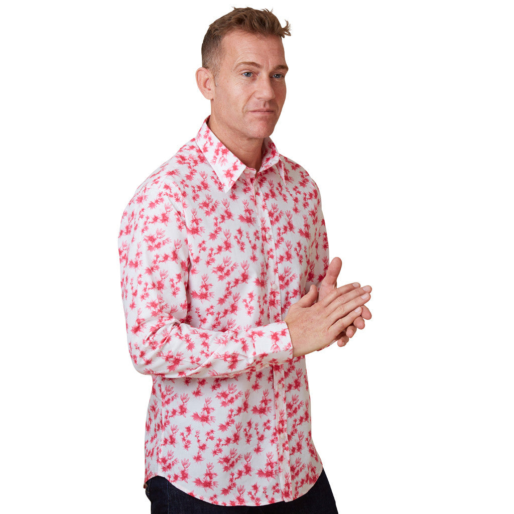 floral shirt with pink lilies for men