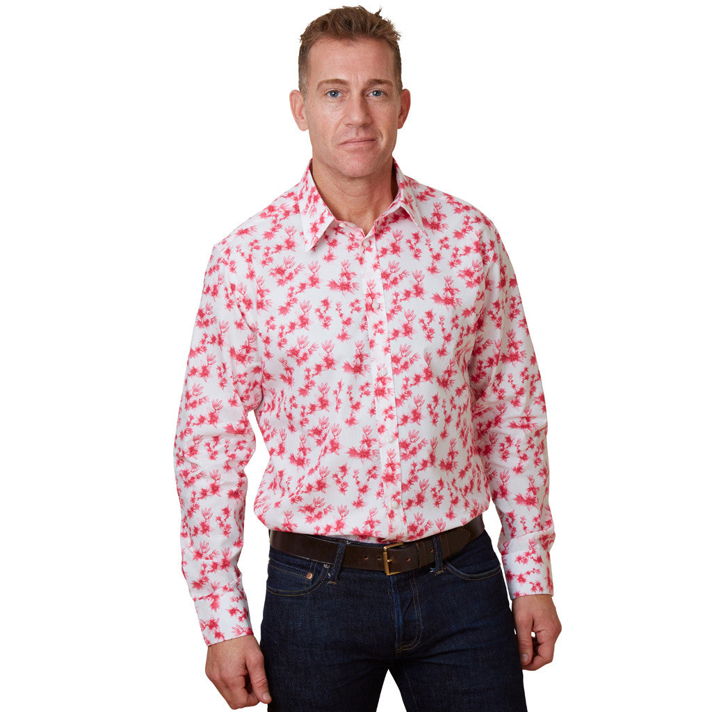 floral shirt with pink lilies