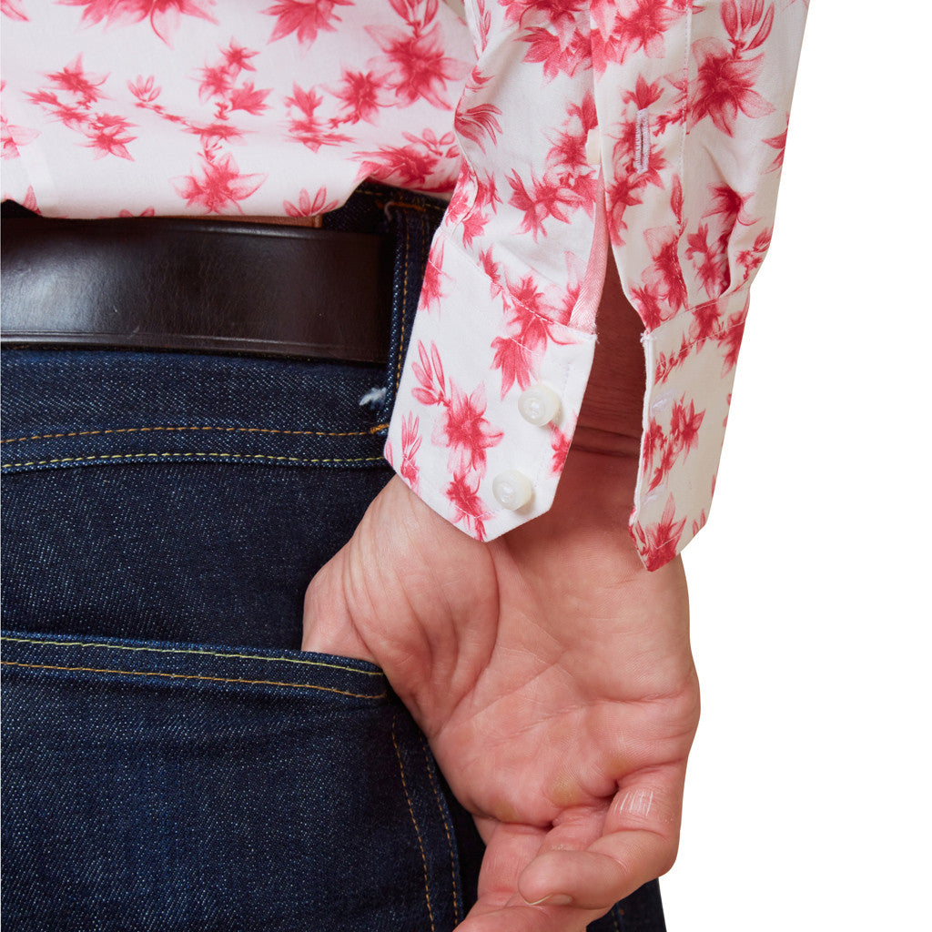 floral shirt with pink lilies cuff