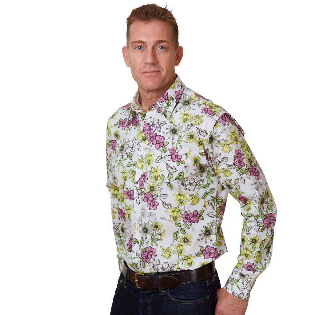 floral shirt with passion flower print