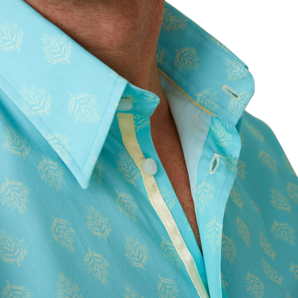 collar of leaf print floral shirt