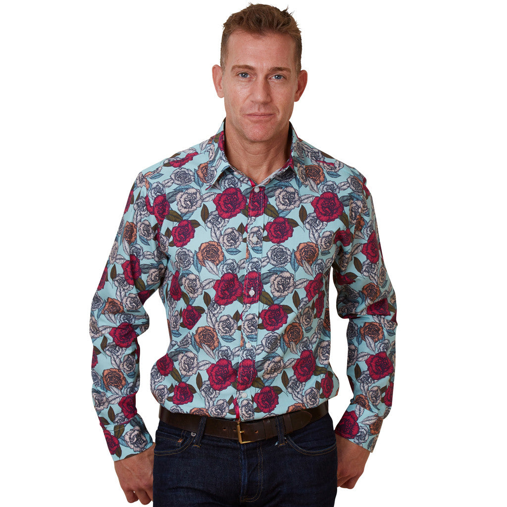 blue floral shirt for men