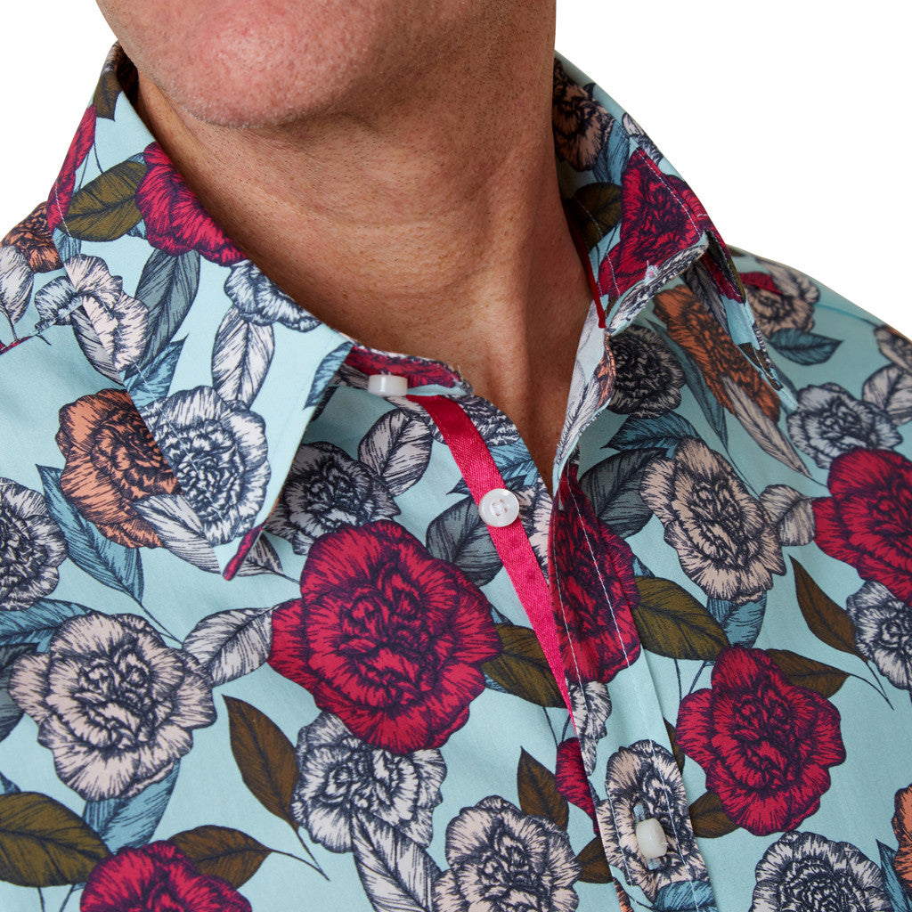 collar of blue floral shirt