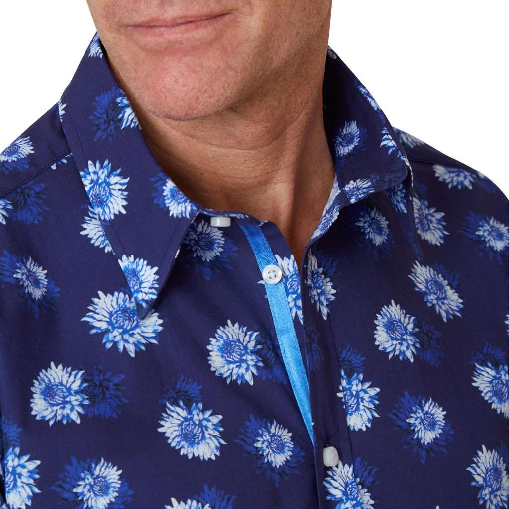 Collar of navy blue floral shirt
