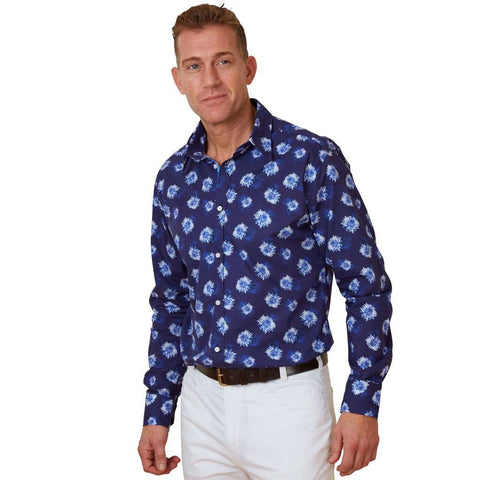 navy blue mens floral shirt