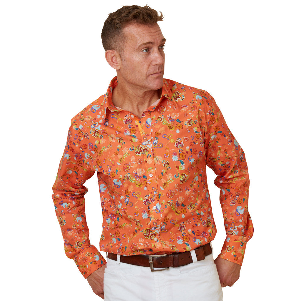 orange marigold floral shirt for men