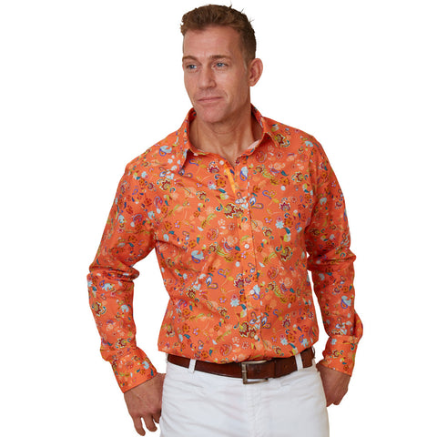orange floral shirt for men