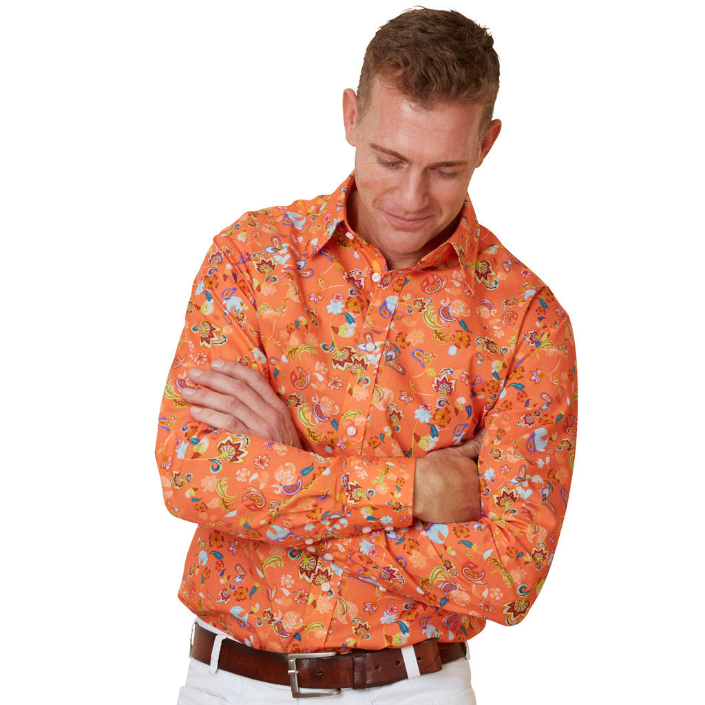mens orange floral shirt
