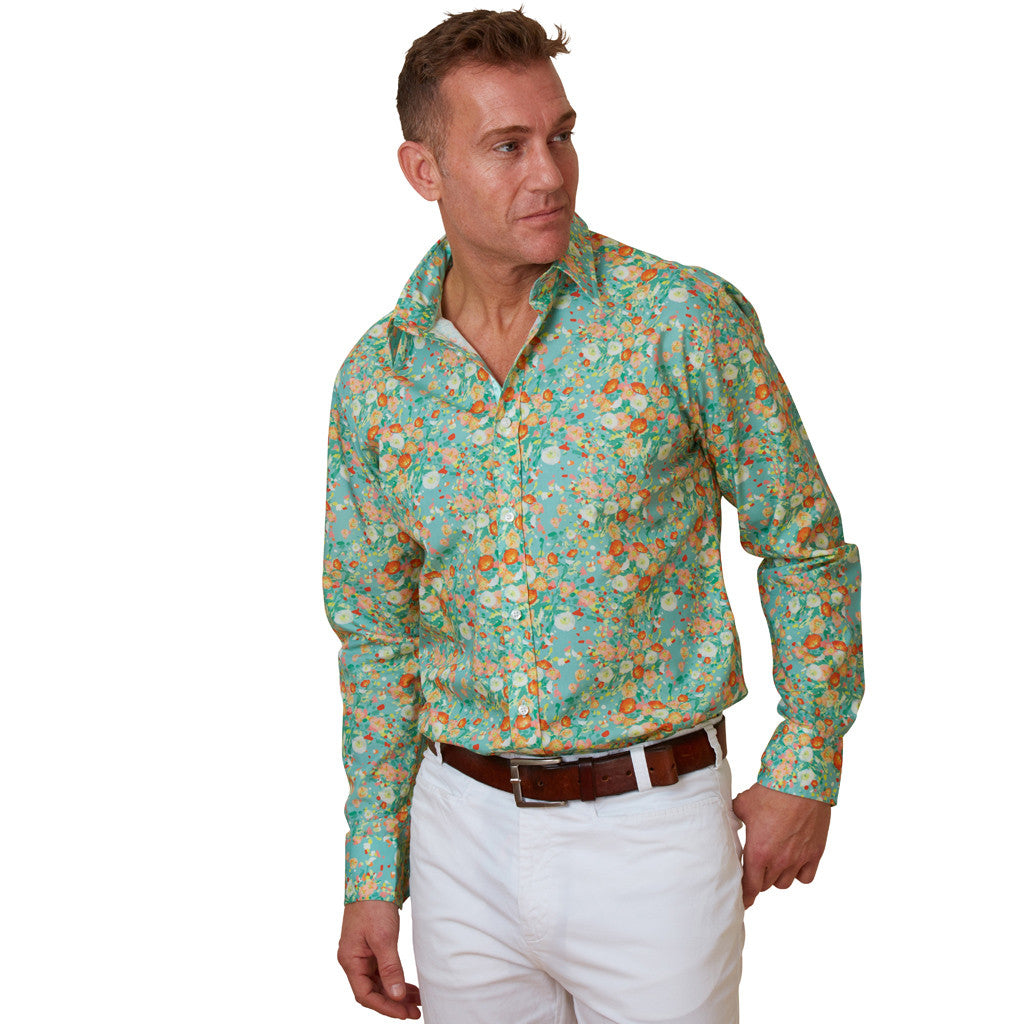 green floral shirt with poppies front