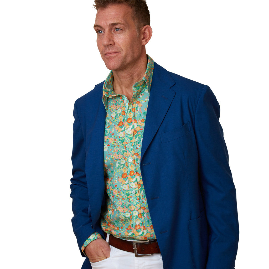 floral shirt with poppies with jacket