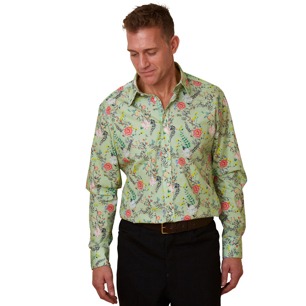 Lancashire rose mens floral shirt