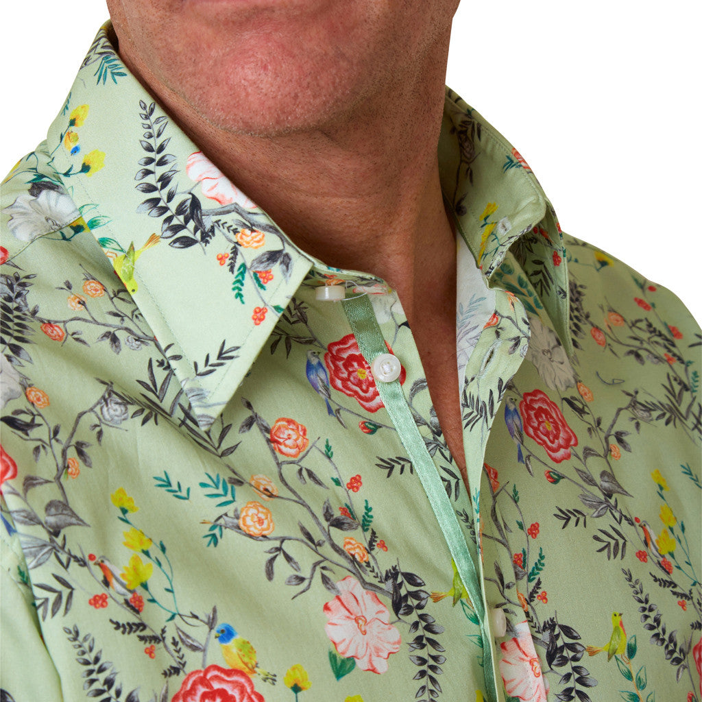 Lancashire rose floral shirt collar