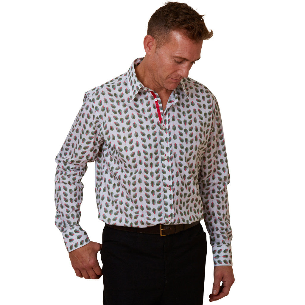 mens leaf print floral shirt
