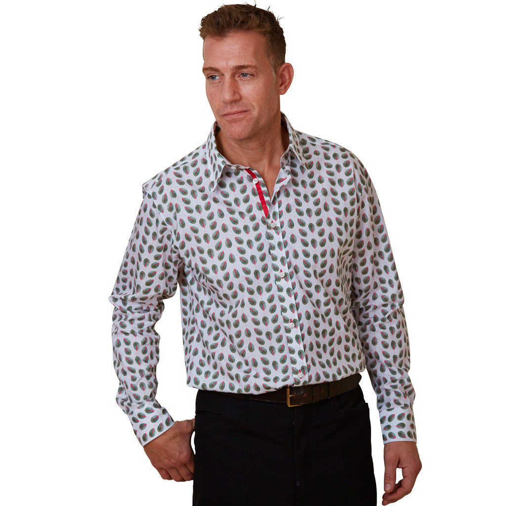 leaf print mens floral shirt
