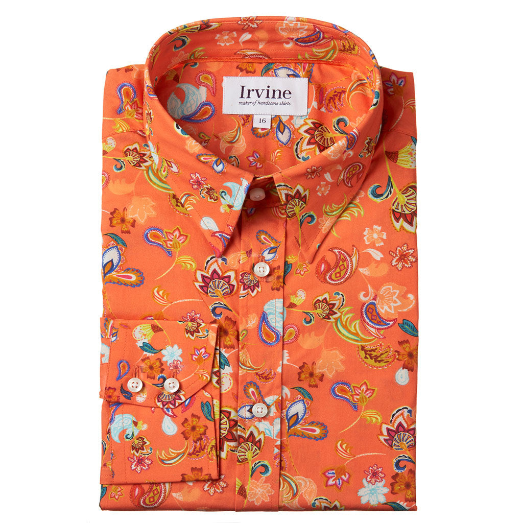 Folded orange floral shirt
