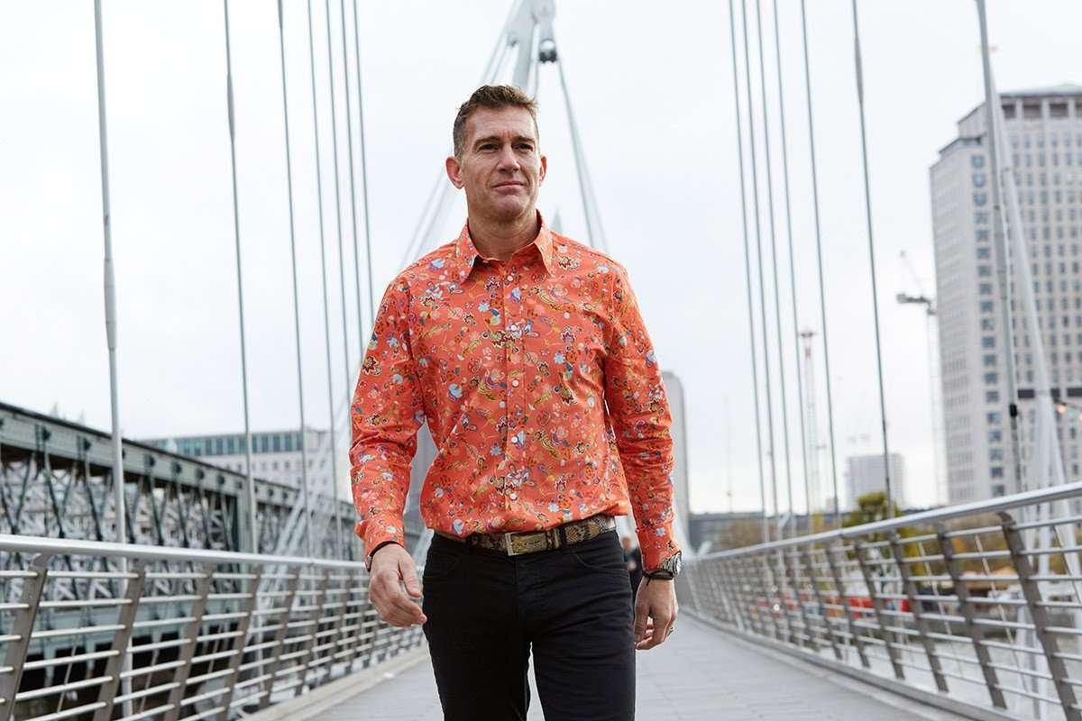 orange marigold mens floral shirt