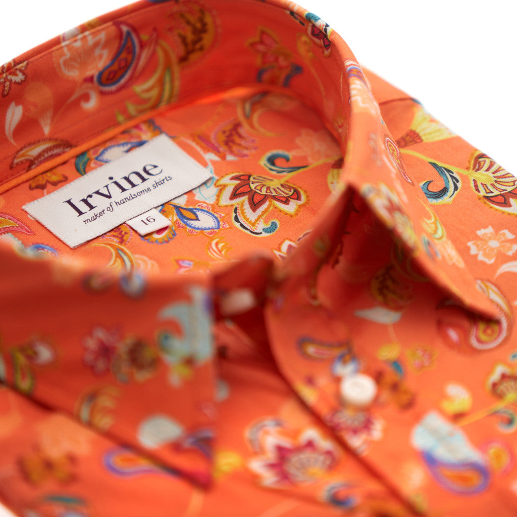 orange mens floral shirt collar