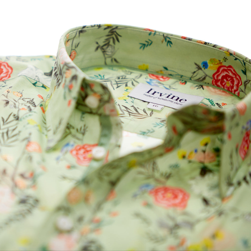 Lancashire rose floral shirt label