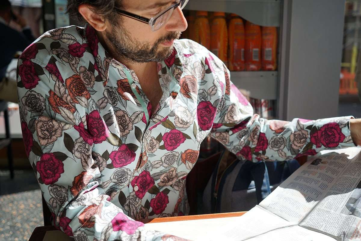carnation pattern mens floral shirt
