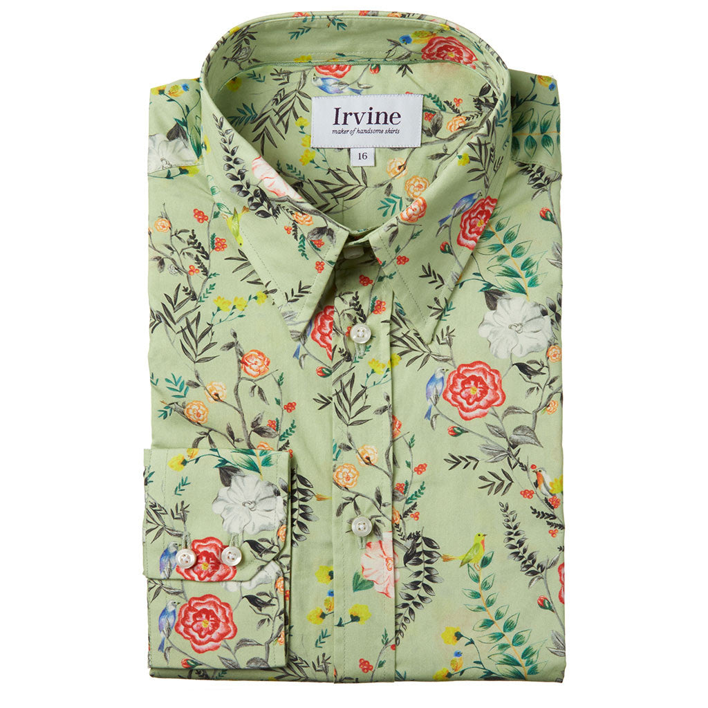 Lancashire rose floral shirt collar folded