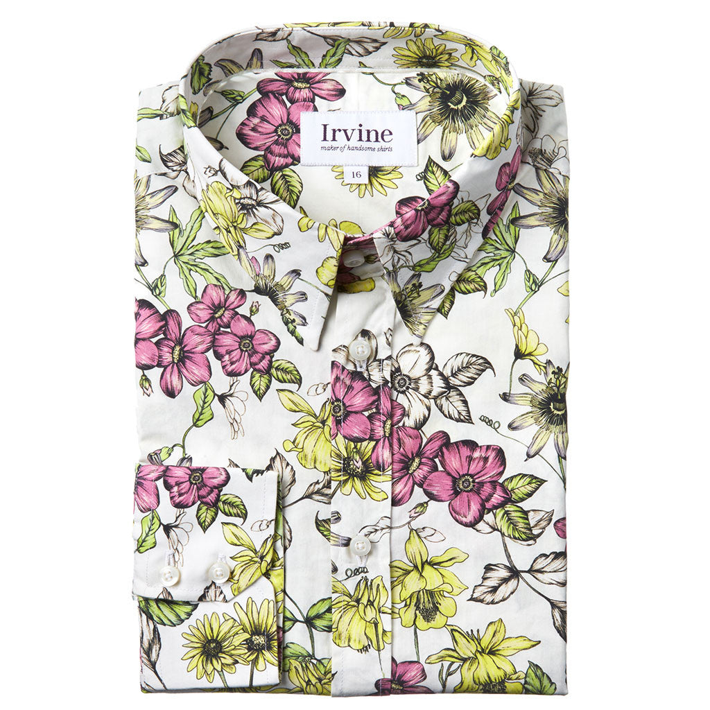 floral shirt with passion flower print folded