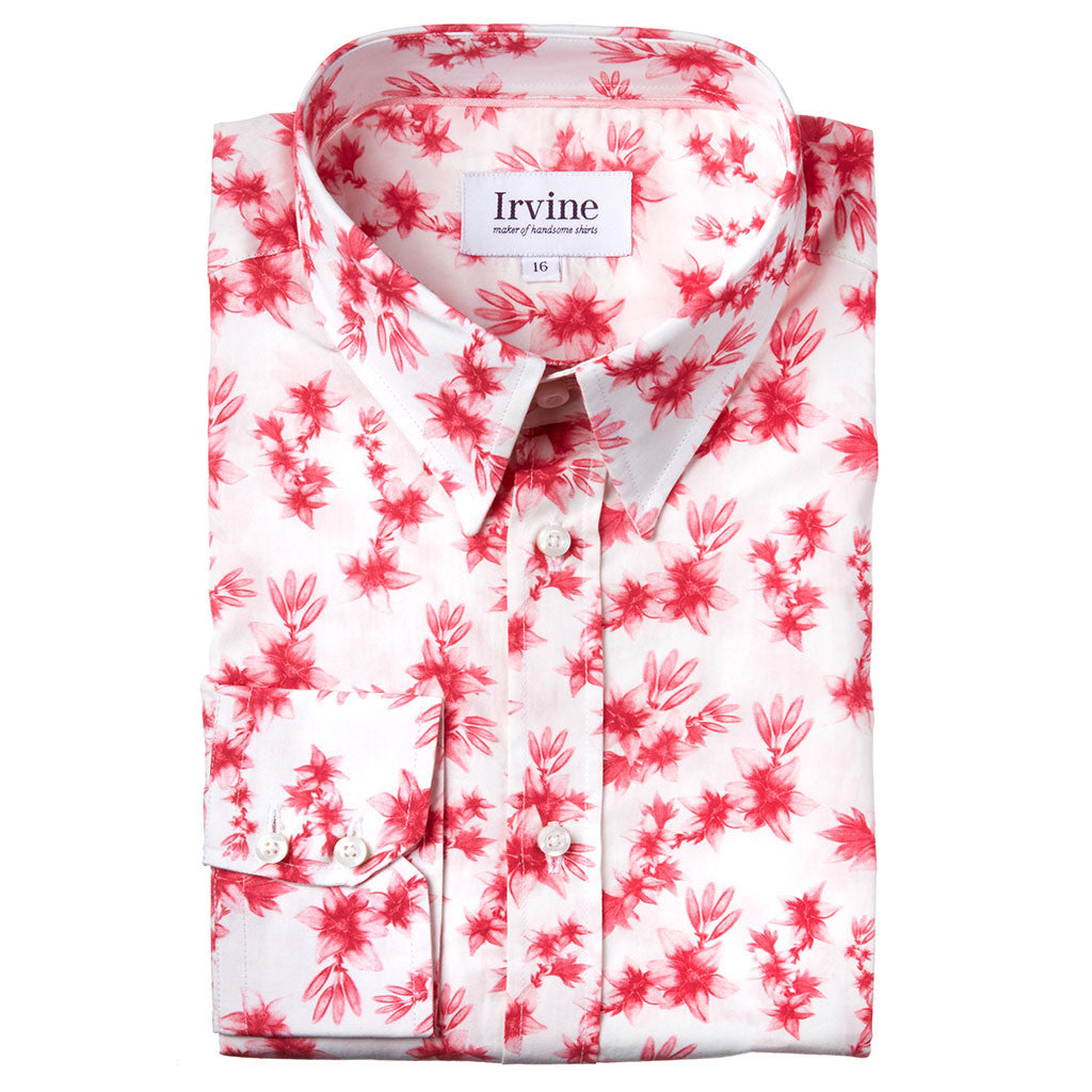 floral shirt with pink lilies folded