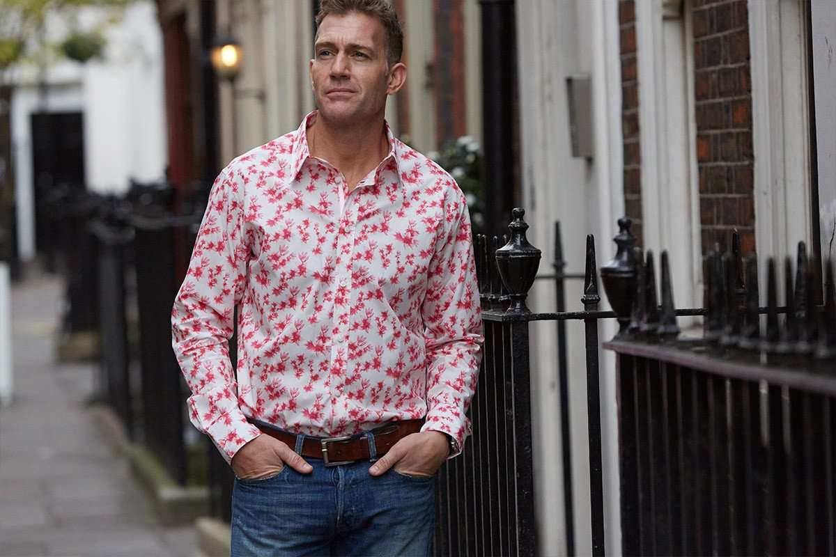 floral shirt with pink lilies outdoors