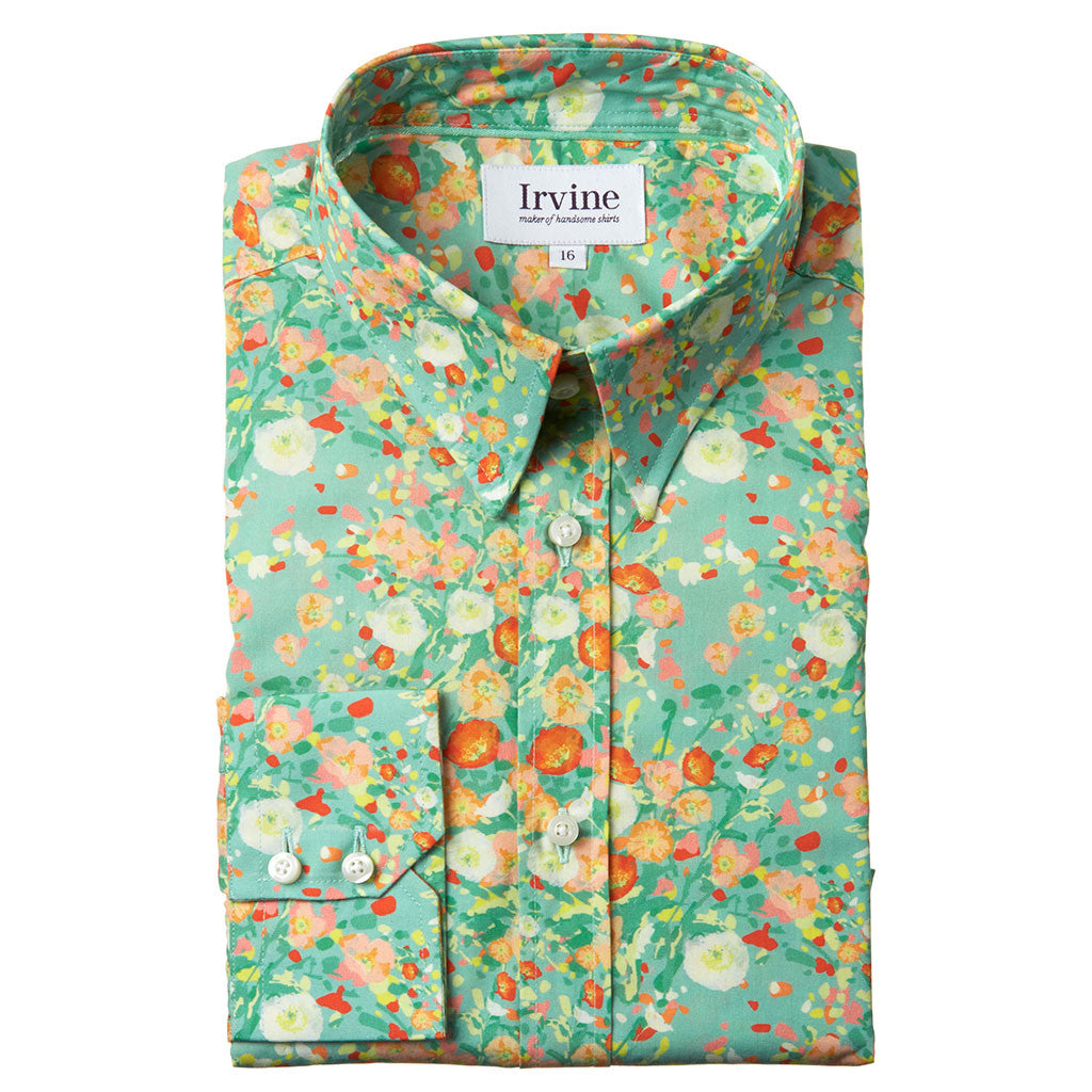 floral shirt with poppies folded