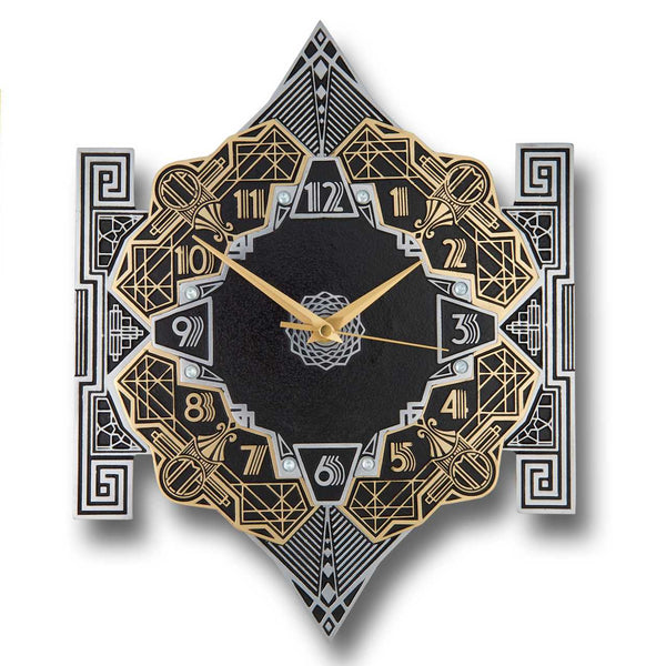 'Empire' Metal Wall Clock Art Deco Style Décor. Cast English Brass And Aluminum Hand Polished In England. Retro Vintage Designer Hanging Silent Silver And Gold Large Wallclock