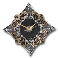 'Paramount' Metal Wall Clock Art Deco Style Décor. Cast English Brass And Aluminum Hand Polished In England. Retro Vintage Designer Hanging Silent Silver And Gold Large Wallclock