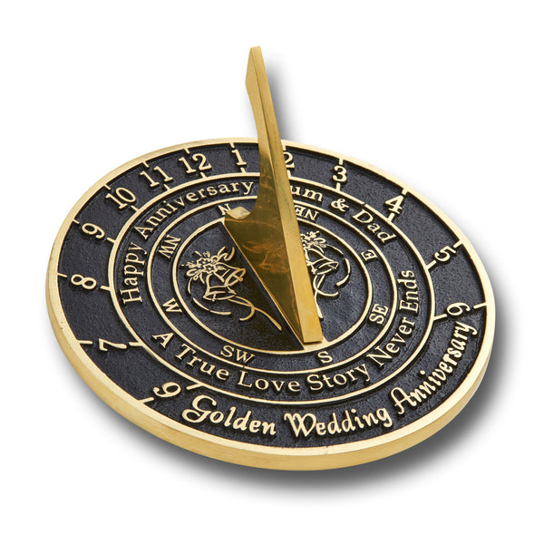 Custom Anniversary Sundial Gift Created In Solid English Brass With Your Message Cast In The Very Metal Itself.